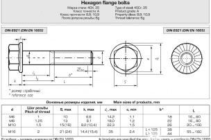 Hexagon heads bolts, DIN 6921